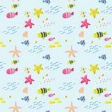 Naadloos patroon met vissen Leuke Kinderachtige Achtergrond voor Stof, Decor, Behang, Verpakkend Document Onderwaterschepselen vector illustratie
