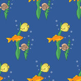 Naadloos patroon met vissen Vector illustratie Stock Foto's
