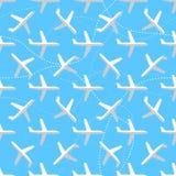 Naadloos patroon met vlak gestileerde vliegtuigen Stock Afbeelding