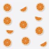 Naadloos patroon met vlakke sinaasappel Stock Foto's
