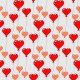 Naadloos patroon met vliegende ballons in de vorm van een hart Ontwerp voor Gelukkige Verjaardag, partij, babydouche, huwelijk royalty-vrije illustratie