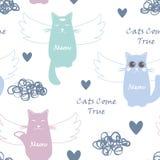 Naadloos patroon met vliegende katten vector illustratie