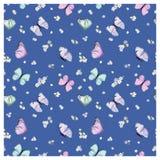 Naadloos Patroon met Vliegende Vlinders en Pansy Flowers in Waterverfstijl Schoonheid in aard Achtergrond voor Stof, Textiel royalty-vrije illustratie