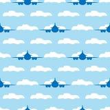 Naadloos patroon met vliegtuigen en wolken Vector illustratie stock illustratie