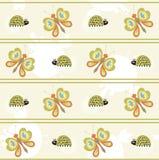 Naadloos patroon met vlinder en lieveheersbeestje Stock Afbeeldingen