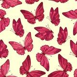Naadloos patroon met vlinder Leuke bloemen naadloos Jonge geitjesachtergrond voor prinses Royalty-vrije Stock Foto's