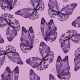 Naadloos patroon met vlinder Lilac kleur Stock Afbeelding