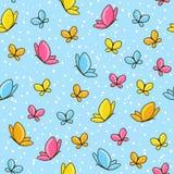 Naadloos patroon met vlinders Stock Afbeeldingen