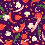 Naadloos patroon met voedselplakken Vector ontwerpelementen Royalty-vrije Stock Afbeeldingen