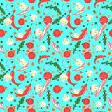 Naadloos patroon met voedselplakken Vector ontwerpelementen Vlakke stijl Stock Foto's