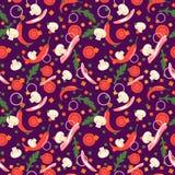 Naadloos patroon met voedselplakken Vector ontwerpelementen Vlakke stijl Royalty-vrije Stock Fotografie