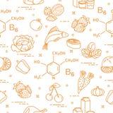 Naadloos patroon met voedselrijken in vitamine B6 Royalty-vrije Stock Fotografie