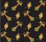 naadloos patroon met vogel en abstracte bloem Stock Foto's