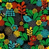 Naadloos patroon met vogels en bijen. Stock Afbeeldingen