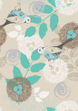 Naadloos Patroon met Vogels en Bladeren royalty-vrije illustratie
