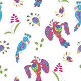 Naadloos patroon met vogels en bloemen Royalty-vrije Stock Foto's
