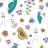 Naadloos patroon met vogels en bloemen Stock Afbeeldingen