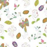 Naadloos patroon met vogels en bloemen Royalty-vrije Stock Afbeelding