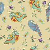 Naadloos patroon met vogels en bloemen Royalty-vrije Stock Fotografie