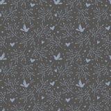 Naadloos patroon met vogels en harten Stock Foto's