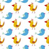 Naadloos patroon met vogels Gelukkige achtergrond Gelukkige Pasen royalty-vrije illustratie