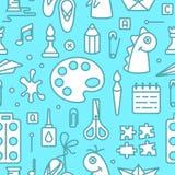 Naadloos patroon met voorwerpen voor jonge geitjes creatieve lessen stock illustratie