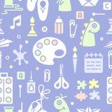 Naadloos patroon met voorwerpen voor jonge geitjes creatieve lessen in vlakke stijl stock illustratie