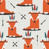 Naadloos patroon met vossen stock illustratie