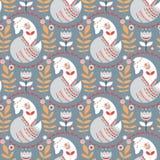 Naadloos patroon met vossen en bloemen op een grijze achtergrond royalty-vrije illustratie
