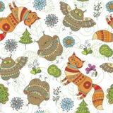 Naadloos patroon met vossen, uilen en bomen Royalty-vrije Stock Fotografie
