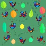Naadloos patroon met vrolijk vogels en blad stock afbeelding