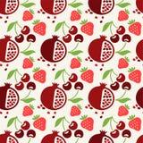 Naadloos patroon met vruchten en bessen Stock Foto's