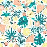 Naadloos patroon met vruchten en bloemen vector illustratie