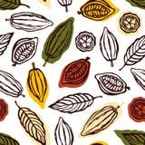 Naadloos patroon met vruchten en cacaobladeren Achtergrond voor de verpakking van chocoladedrank en chocolade Getrokken hand royalty-vrije illustratie