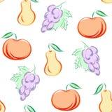 Naadloos patroon met vruchten ter beschikking getrokken stijl - vectorillustratie stock illustratie