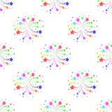 Naadloos patroon met vuurwerk op witte achtergrond Stock Afbeelding