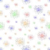 Naadloos patroon met vuurwerk op witte achtergrond Royalty-vrije Stock Afbeeldingen