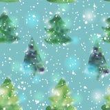 Naadloos patroon met watercolourkerstbomen Royalty-vrije Stock Afbeelding