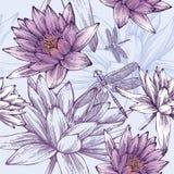 Naadloos patroon met waterlelies en libellen Stock Foto