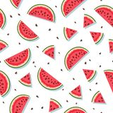 Naadloos patroon met watermeloenplakken Vector illustratie stock foto