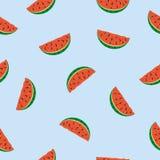 Naadloos patroon met watermeloenstukken op blauwe achtergrond Royalty-vrije Stock Afbeeldingen