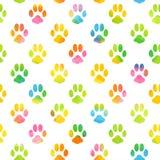 Naadloos patroon met waterverf dierlijke voetafdruk Stock Foto