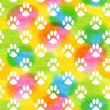 Naadloos patroon met waterverf dierlijke voetafdruk Stock Foto's