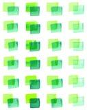 Naadloos patroon met waterverf geschilderde vierkanten van verschillende schaduwen van groen Stock Foto's