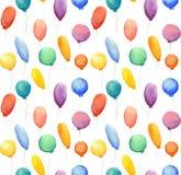 Naadloos patroon met waterverf multi-colored ballons Stock Fotografie