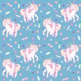 Naadloos patroon met waterverf roze eenhoorn in tutu, veren en confettien royalty-vrije illustratie