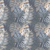 Naadloos patroon met waterverf tropische bladeren Stock Afbeelding