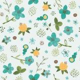 Naadloos patroon met waterverf tropische bloemen op blauwe achtergrond Royalty-vrije Stock Foto