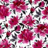 Naadloos patroon met waterverfbloemen Royalty-vrije Stock Afbeelding