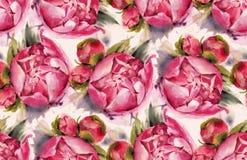 Naadloos patroon met waterverfbloemen Stock Afbeeldingen
